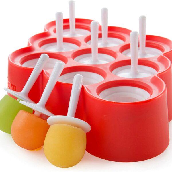 Moules à glace de couleur rouge en forme de rond